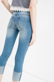 Cropped stretch jeans with turn-ups, Medium Wash, hi-res