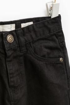 Pantaloni puro cotone tinta unita, Nero, hi-res