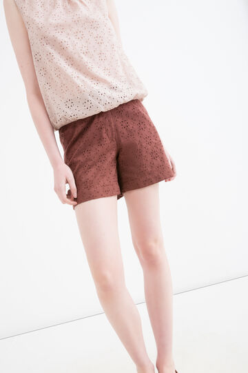 100% cotton openwork shorts, Cognac Brown, hi-res
