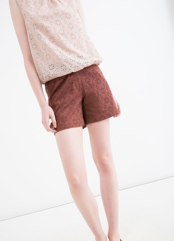 100% cotton openwork shorts | OVS