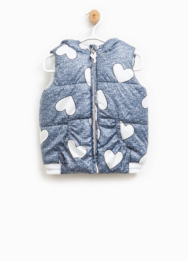Quilted gilet with printed hearts | OVS