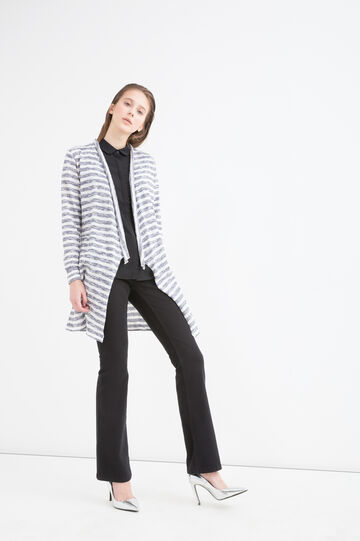 Long 100% cotton cardigan with stripes, White/Blue, hi-res