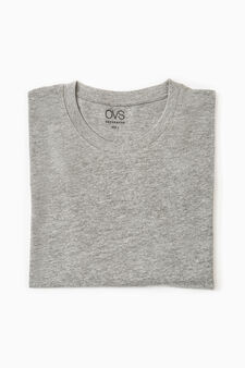 Cotton undershirt with crew neck, Grey Marl, hi-res