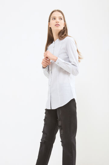 Solid colour stretch blouse, White, hi-res