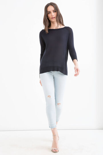 Viscose blend pullover with splits, Navy Blue, hi-res