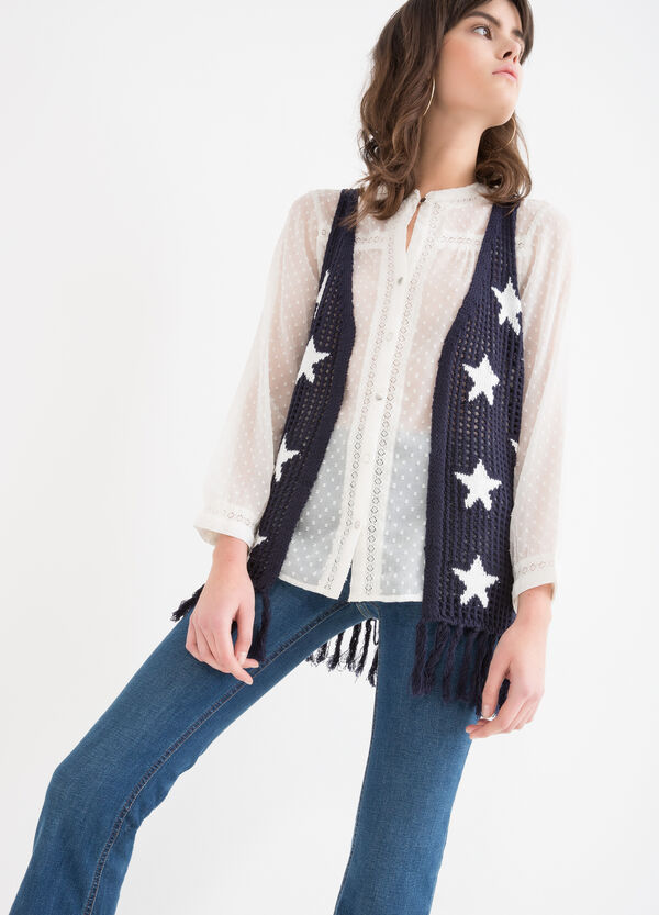 Knitted waistcoat with star pattern | OVS