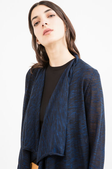 Shawl-neck viscose blend cardigan, Blue, hi-res