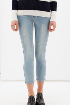 Worn-effect skinny jeans, Light Wash, hi-res