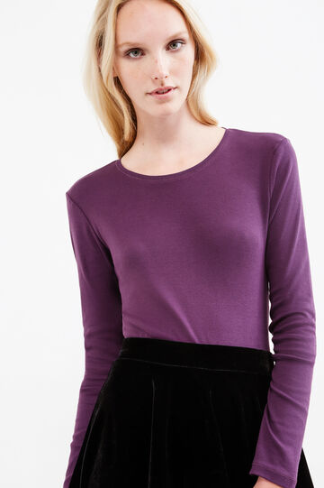 100% cotton T-shirt with long sleeves, Purple, hi-res