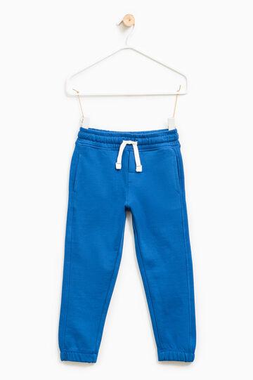 Pantaloni tuta puro cotone tinta unita, Blu royal, hi-res