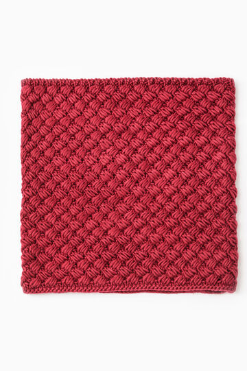 Solid colour knitted neck warmer, Red, hi-res
