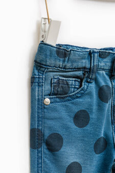Stretch fleece joggers with polka dot pattern, Navy Blue, hi-res