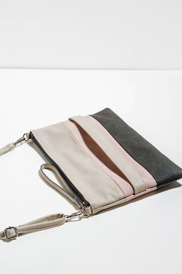 Textured-effect clutch bag with striped pattern