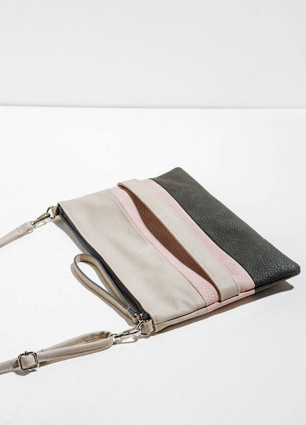 Textured-effect clutch bag with striped pattern | OVS