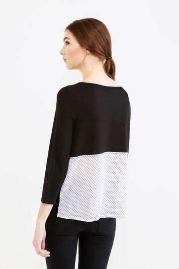 Stretch viscose T-shirt with polka dot insert