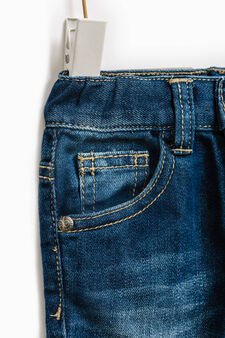 Jeans with five pockets and elasticated ankles, Denim, hi-res