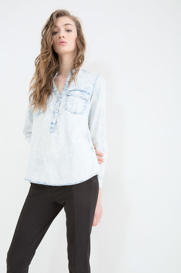 Misdyed denim blouse