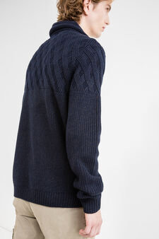 Cotton pullover with high neck with drawstring, Navy Blue, hi-res