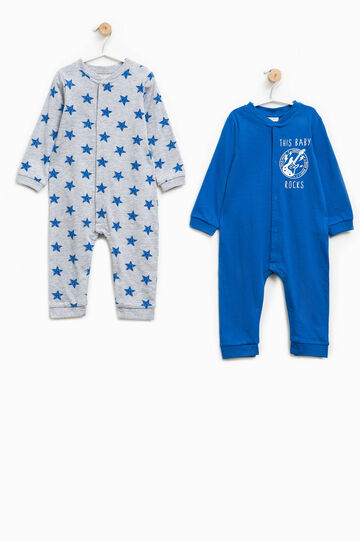 Two-pack patterned and solid colour pyjama onesies, Grey/Blue, hi-res