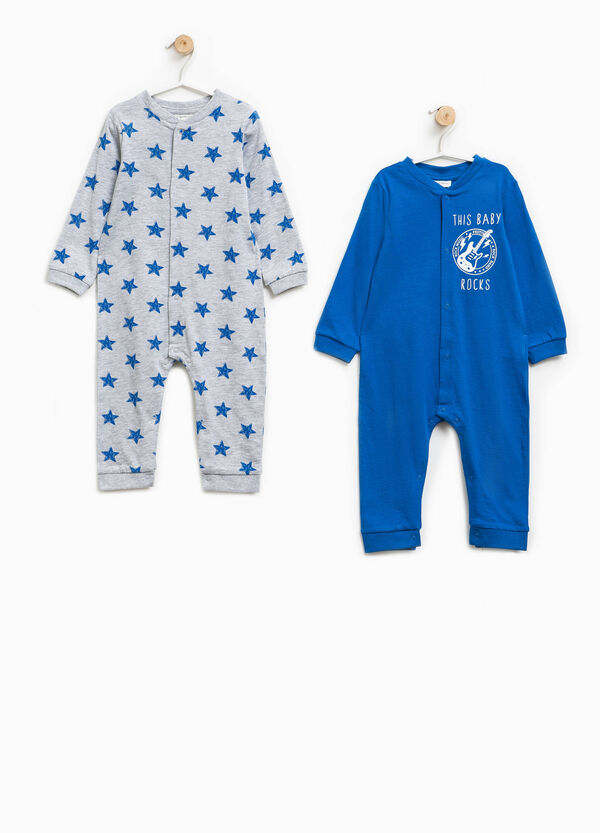 Two-pack patterned and solid colour pyjama onesies | OVS