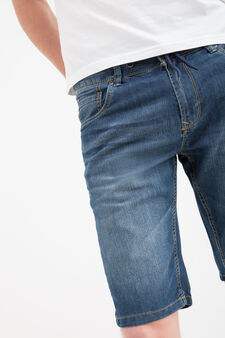 Bermuda di jeans slim fit effetto used, Denim, hi-res