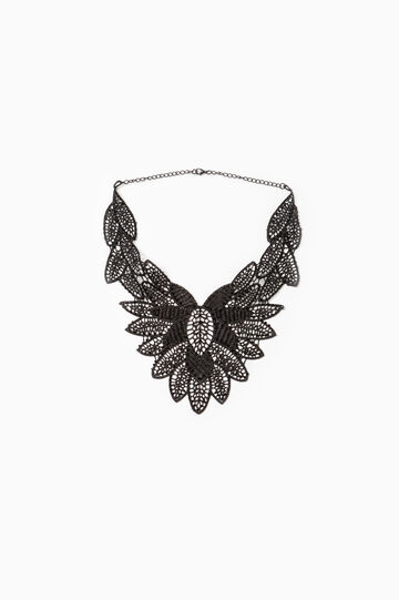 Lace necklace with chain, Black, hi-res