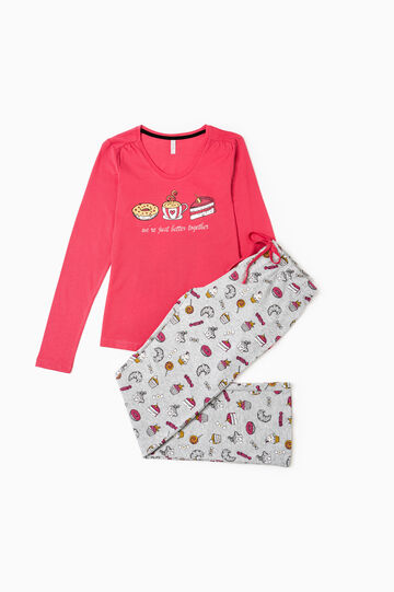 Patterned pyjamas in 100% cotton, Red, hi-res