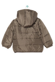 Down jacket with hood, Army Green, hi-res