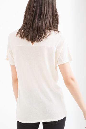 T-shirt misto viscosa traforata, Crema, hi-res