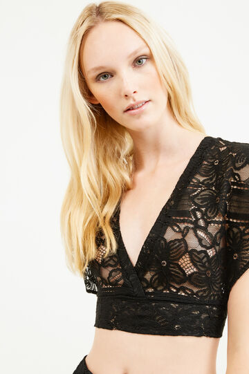 Lace crop blouse, Black, hi-res