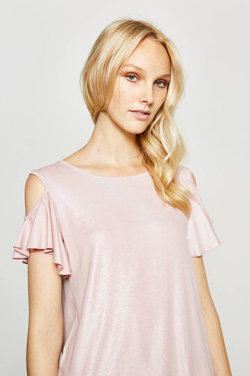 Shiny T-shirt in stretch viscose