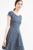 Short patterned dress in stretch cotton, Blue, hi-res