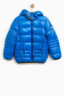 Solid colour bomber jacket with hood, Turquoise Blue, hi-res