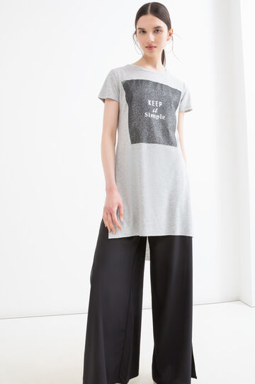 Viscose long T-shirt with splits, Grey Marl, hi-res
