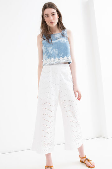 Gaucho cotton trousers with openwork, White, hi-res