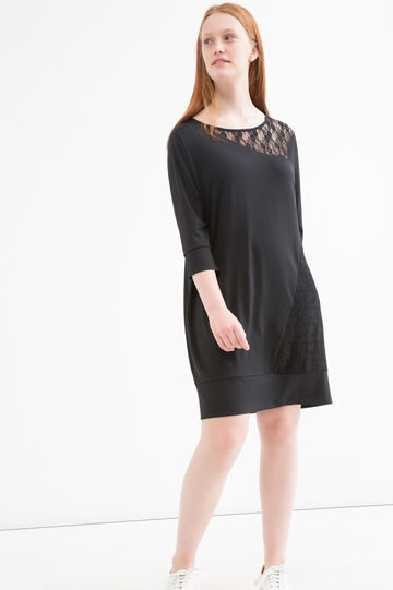 Curvy stretch dress with lace., Black, hi-res