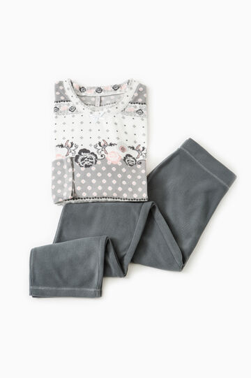 Fleece pyjamas with bow, Dark Grey, hi-res