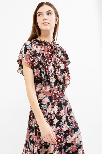 Longuette dress with floral print, Black, hi-res
