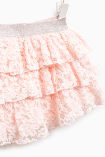 Stretch flounced skirt with lace, Pink, hi-res