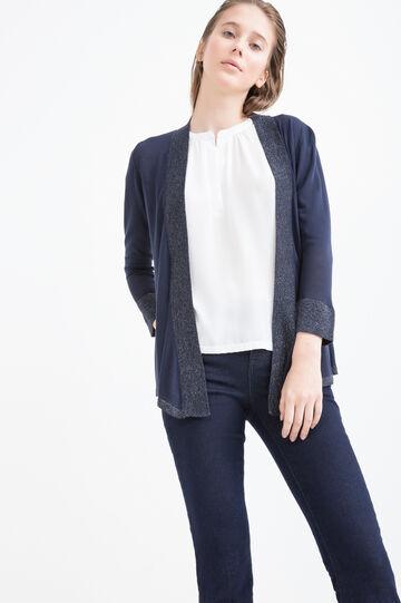 Solid colour 100% viscose cardigan, Navy Blue, hi-res