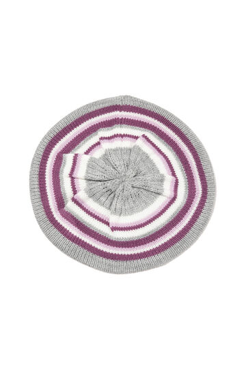 Striped-pattern flat cap, Grey, hi-res