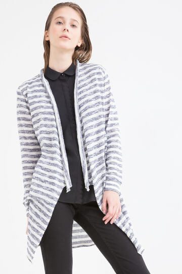 Long 100% cotton cardigan with stripes