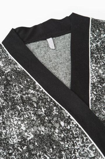 Patterned stretch viscose robe, White/Black, hi-res