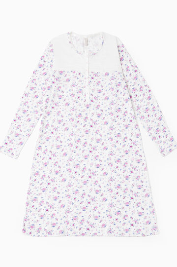100% cotton floral nightshirt, Cream White, hi-res