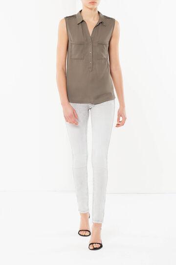 Pure viscose blouse, Army Green, hi-res