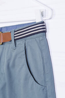 100% cotton Bermuda shorts with belt, Blue, hi-res