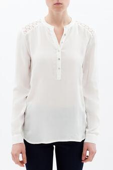 Shirt with openwork finish, White, hi-res