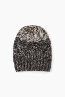 Mélange knitted beanie cap, Slate Grey, hi-res