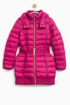 Down jacket with hood and belt, Wine Purple, hi-res