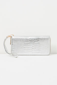 Snakeskin effect wallet with strap, Grey/Silver, hi-res